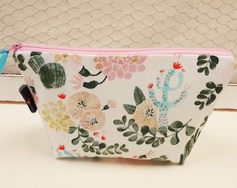 Cosmetic bag, Makeup bag, Cactus zipper pouch
