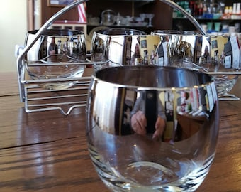 Mid Century Modern Dorothy Thorpe style Silver Fade Roly Poly 6 glass set with caddy