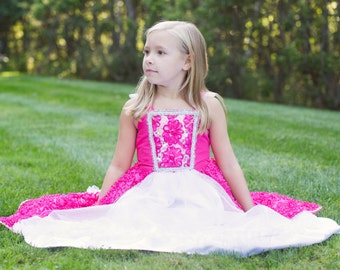 "Hot Pink ""Dahlia"" Princess Dress, Flower Girl Dress, Dress Up Costume"