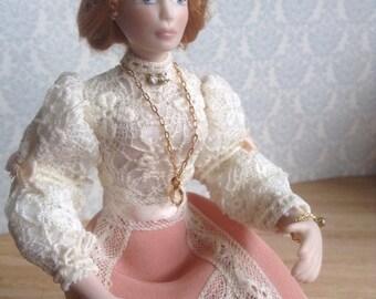 1:12 scale miniature porcelain doll,  1/12 scale dollhouse porcelain doll , dolls for dollhouses