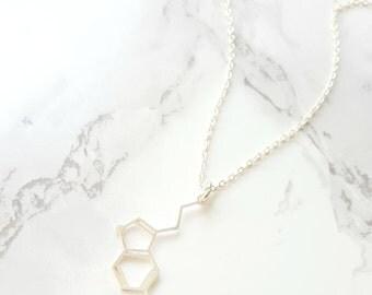 SEROTONIN NECKLACE, Pendant Serotonin, Molecule Necklace, Chemistry Necklace Pendant, science jewelry, happiness necklace, silver serotonin