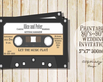 Wedding Invitation Cassette 80's and 90's/ Music wedding Invitation / Cassette invitation / Cassette wedding Invitation / Wedding invitation