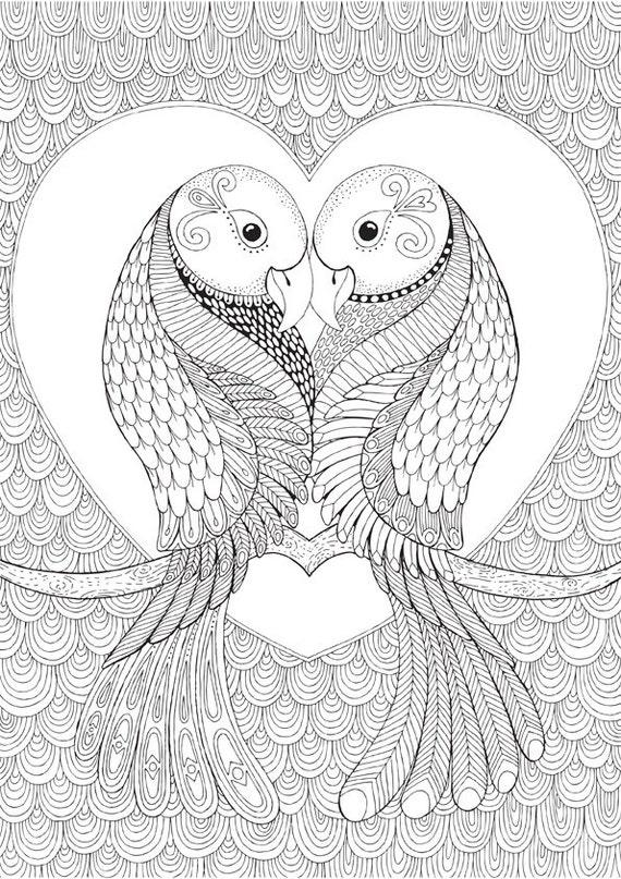 Items similar to Lovebirds Colour