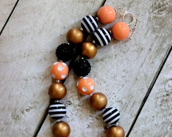 chunky bubblegum necklace peach black gold beaded necklace for birthday girl chunky bead necklace chunky bubblegum necklace bubblegum
