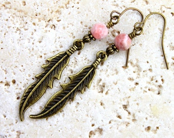 Pink Rhodonite Earrings Brass Feather Earrings Southwestern Gemstone Unique Bohemian Earrings Rustic Tribal Earrings Long Feather Dangles
