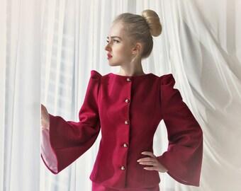 100% wool women suit, Two piece outfit, business suit, two piece skirt suit, women blazer, women jacket, power suit, office wear,