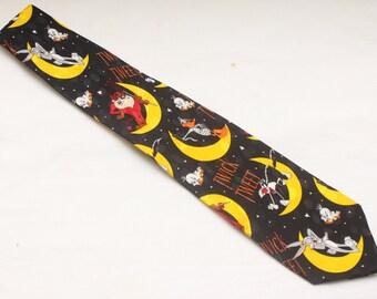 "Rare 1995 Vintage ""LOONEY TUNES MANIA"" 100% Silk Patterned Tie"