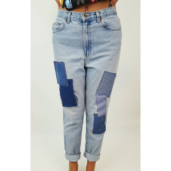 Vintage Size 10-12 Medium High Waist 90's Patchwork Jeans - Blue Jean Reworked Patched Denim - Highwaisted Mom Grunge Tapered Jeans Upcycled