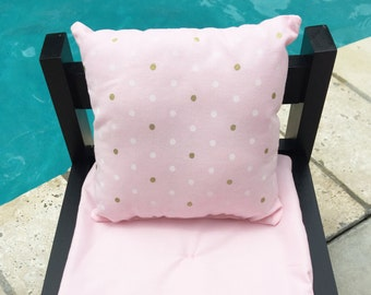 Doll Pillows, 18 Inch Doll Pillows, Doll Throw Pills, Pink with gold and white dots