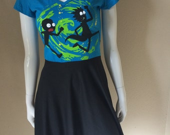 Rick and Morty Babydoll V Neck Dress