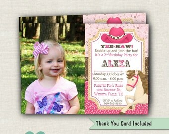 Cowgirl Birthday Invitation - Girl Invite - Western Birthday Party - Horse Invitation - Girls Western Party - Pony Invitation