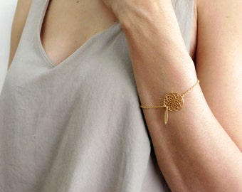 Dream Catcher Bracelet, Gold Bracelet, Woodland Jewelry, Feather Bracelet, Boho Necklace,Bridesmaids Gifts, Bridal Jewelry