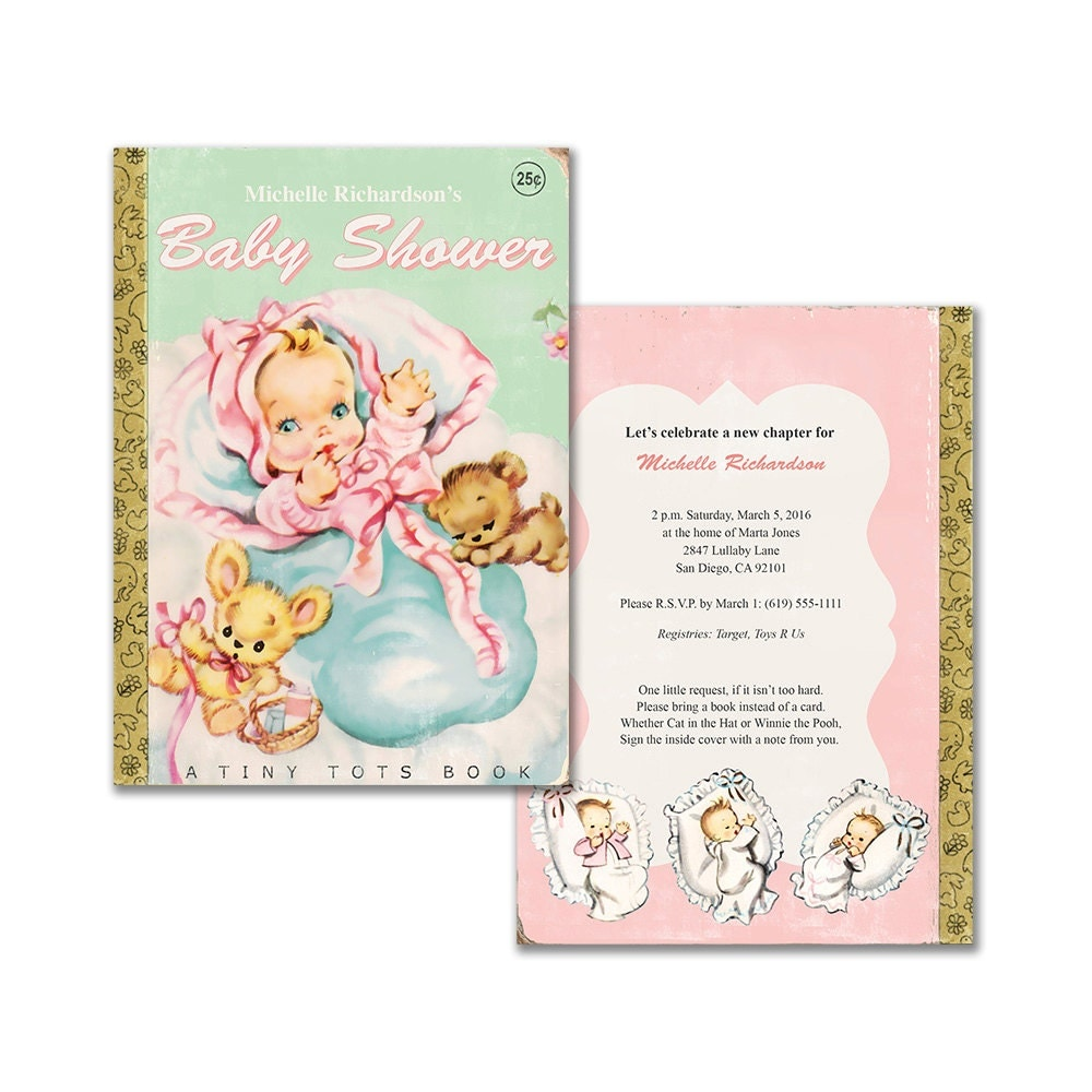 printable book themed baby girl shower invitation vintage