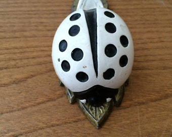 Vintage Allied Brass Black and White Ladybug on Leaf Clip
