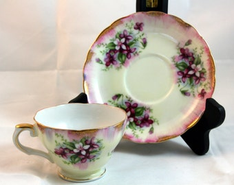Royal Sealy cup and saucer- japan- violets teacup with matching saucer