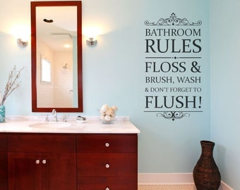 Bathroom decor bathroom wall decal bathroom vinyl wall for Bathroom decor rules