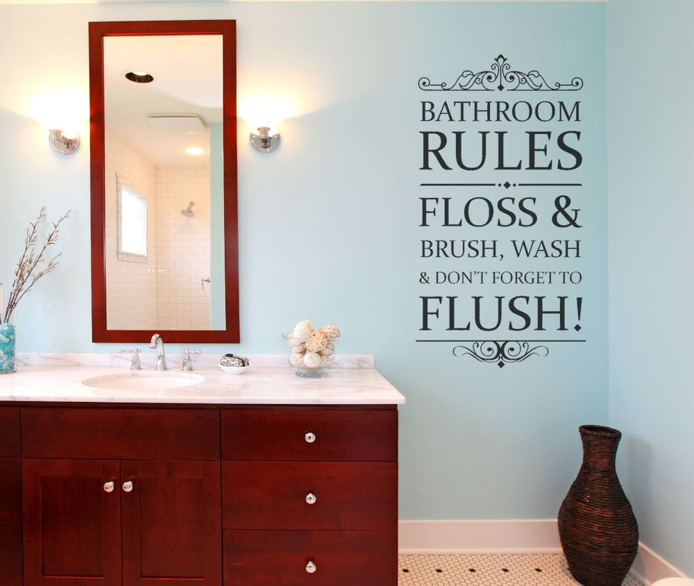 Bathroom Rules Wall Decor : Bathroom rules wall decal decor by