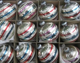 Vintage Shiny Brite Box of Red White Blue Stripes Patriotic Christmas Ornaments