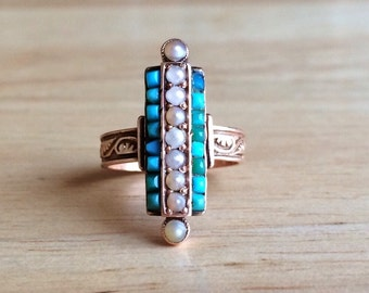 Antique Victorian Turquoise 14kt Rose Gold Seed Pearl Ring - Size 4 1/4 Sizeable Alternative Engagement - Wedding Vintage Jewelry