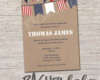 Military going away party invitation, printable, digital print
