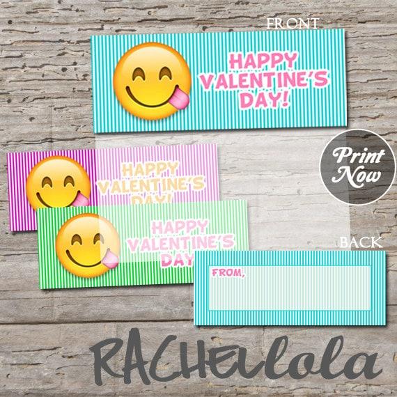 Emoji Valentine S Day Card For Kids Printable Favor Bag Topper Or