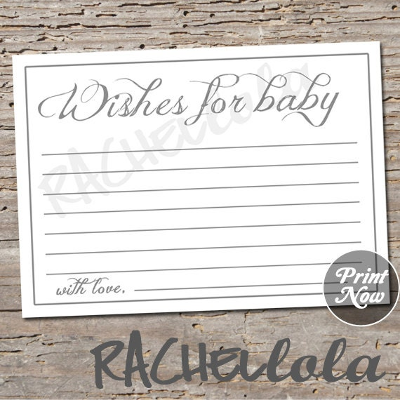 Simple grey wishes for baby advice baby shower game well wishes il570xn maxwellsz