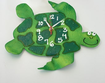 Kids Wall Clock,Unique Clock,Handmade clock, Sea Turtle Clock Clock, Unique wall Clock, Decorative Wall Clock, Ceramic Clock
