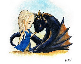 Daenerys and Drogon Fan Art Watercolor Print