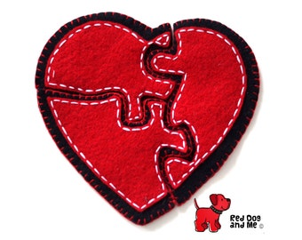 Love Heart 3 Piece Felt Jigsaw Puzzle Hand Sewing PDF Toy Pattern  Soft Toy Valentines Gift