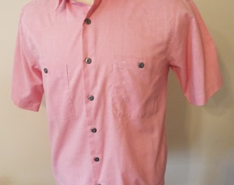 Vintage Short Sleeve Pink Button Down Shirt by Lee