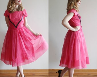 Center Stage Dress * 1960s hot pink party dress * Size 4