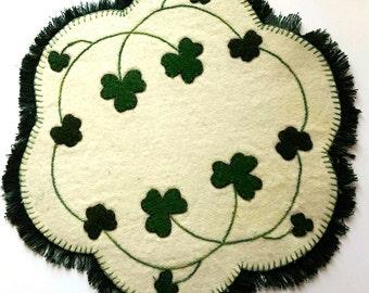 Shamrock Applique Wool Penny Mat, Shamrock Wool Penny Mat, Shamrock Applique,Wool Penny Mat, St. Patricks Day Applique Wool Penny Mat