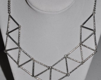 Silver Geometric Necklace #874