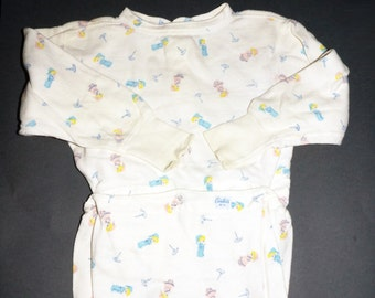 1970s Boys Footed Pajamas Sz 4 Vintage Retro Kids