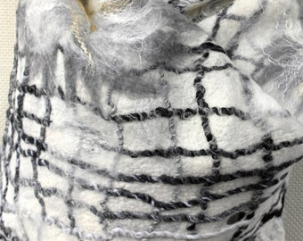 Felted white, grey shawl, scarf. Handmade wrap from wool and silk for women.