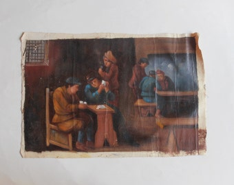 vintage original oil painting, men playing cards