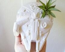 Millennium Falcon planter, desk planter, space ship, Star Wars wedding centerpiece, air plant holder with plant