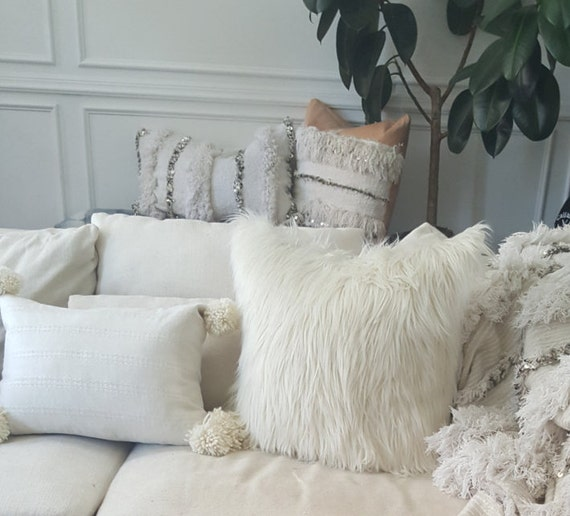 Ivory faux fur pillow oversized 24inch square