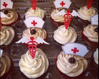 Nurse Cupcake Toppers - 12 piece set - Food Picks - College graduation - Registered nurse - Nurse Week - Nursing School - Medical school