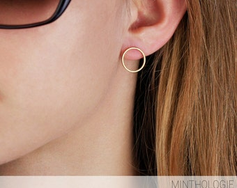 Open Circle Earrings E46 • gold, silver, rose gold, round, post, karma, simple earrings, gift for her, bridesmaids gift, mothers day