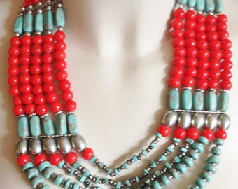 Necklace -  red and turquoise multi-strand beaded necklace retro design