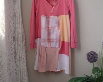 A Line Patchwork Dress/ Upcycled Henley T Shirt Dress/ Medium to Large