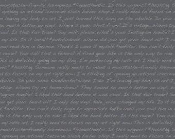 Hipster fabric - Type on Asphalt - Dear Stella Designs - modern fabric, grey fabric, text fabric, words, Portland, masculine, boy fabric