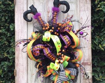 Crashing Witch wreath,Halloween witch Wreath,witch Wreath,Fun Witch Wreath, Halloween Door Wreath,Fun Halloween Wreath,Front door Halloween