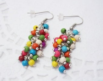 Best womens birthday gifts xmas gift Fall earrings beaded earrings gemstone jewelry gemstone earrings cluster earrings fun earrings for girl