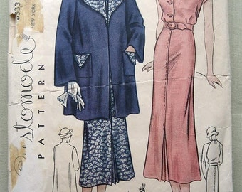 30s Wide Lapel Coat and Collarless Dress. Customode 8333 Sewing Pattern. Bust 34""