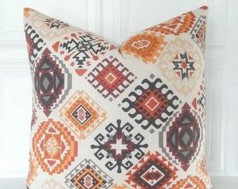 Brown Orange Pillow Cover - Orange Throw Pillow - Southwestern Pillow - Beige Orange Brown Pillow - Tribal Pillow - Southwest Pillow