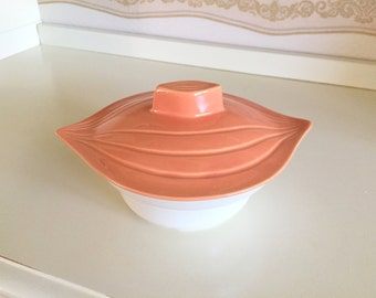 California Pottery Bowl with Lid from Chip and Dip Set Coral Melon