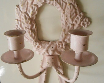 Vintage, Upcycled, Brass, Baby Pink, Shabby Chic, Distressed, Candle Holders, Wall Sconces