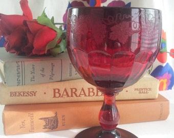 Cambridge Glass Wine Goblet Carmen Old Martha Washington #1400 Grape Etch 1932